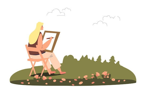 Young woman painter creating sketch of picture in open air illustration