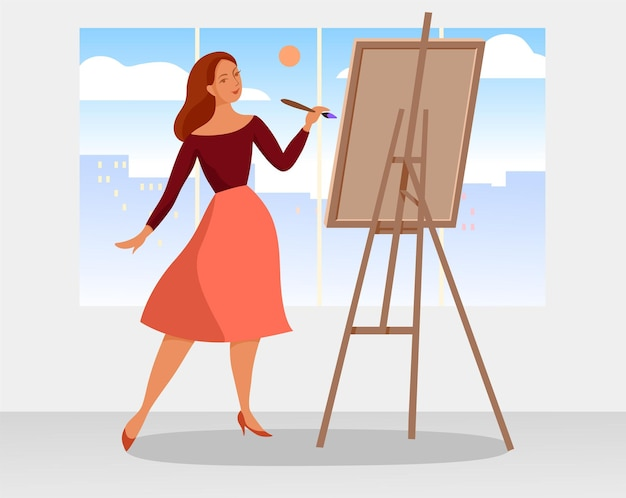 Молодая женщина рисует, холст, масло. элегантная девушка. векторная иллюстрация