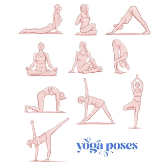Young woman performing physical exercises, female cartoon character demonstrating various yoga positions.