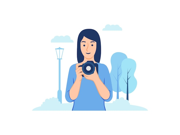 Young woman photographer holding camera photographing outdoor in the park concept illustration