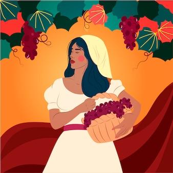 ブドウ園でブドウを選ぶ若い女性。ワイナリー、アグロツーリズム、農業コンセプトフラットイラスト。