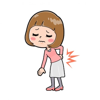 A young woman in a pink clothes with a gesture of low back pain.