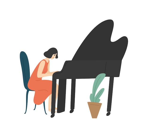 그랜드 피아노를 연주하는 젊은 여자. 여성 피아니스트, 음악가 또는 작곡가 흰색 절연. 그녀의 취미를 즐기는 행복 한 여자