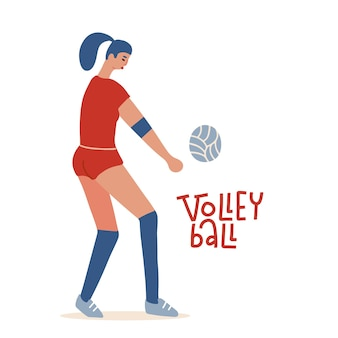 Young woman playing volleyball professional wolley player concept cartoon flat vector character isol...