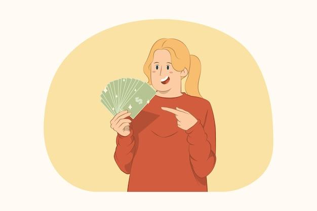 Молодая женщина, указывая указательным пальцем на поклонника концепции наличных денег