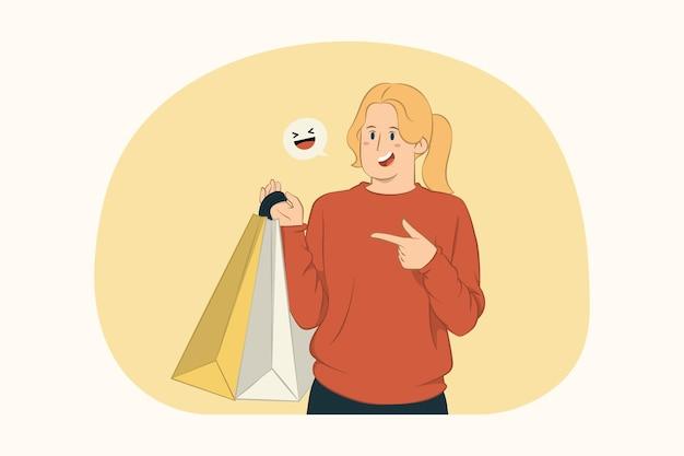 패키지 가방 개념에 indx 손가락을 가리키는 젊은 여자