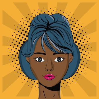 Young woman pop art background