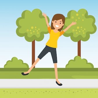 Young woman practicing sport in the park
