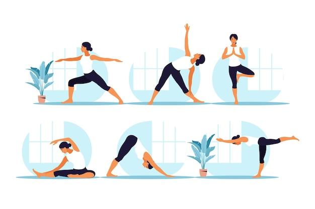 ヨガを練習している若い女性。肉体的および精神的な実践。セットする。フラット漫画スタイルのイラスト。