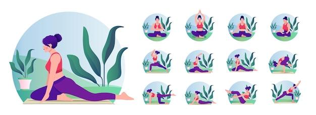 Молодая женщина упражнениями позы йоги женщина тренировки фитнес-аэробика и упражнения