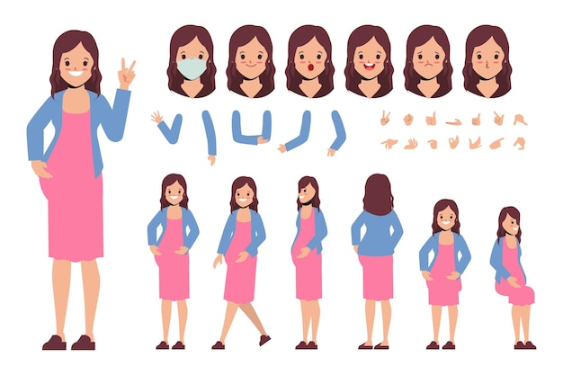 Young woman pregnant character creation design for animation cartoon flat design