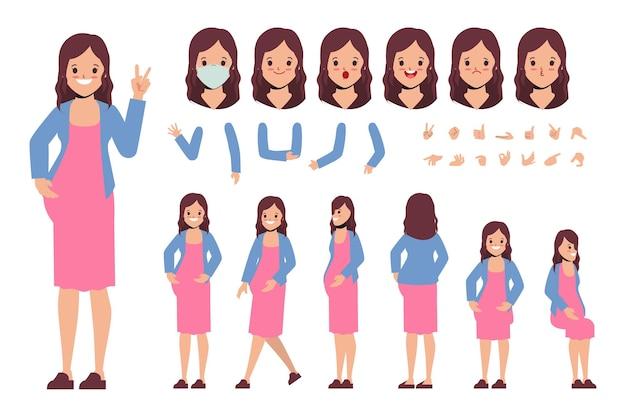 アニメーション漫画フラットデザインの若い女性妊娠中のキャラクター作成デザイン