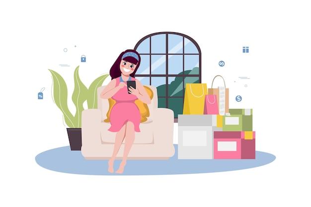 若い女性の妊娠中のオンラインショッピングと配達サービス