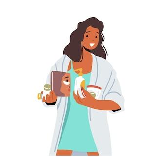 若い女性は、スキンケア手順を適用する準備をします。化粧品の瓶を保持している私服の女性キャラクター