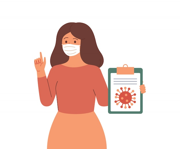 Young woman in protective face mask reports information and news about the viral infectious disease