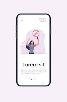 Young woman protesting with round banner. meeting, stop, attention flat vector illustration. demonstration and active position concept mobile app template