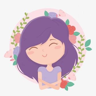 Молодая женщина фиолетовые волосы цветы листья украшения мультфильм