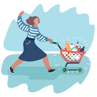 Молодая женщина толкает тележку супермаркета, полную продуктов