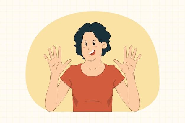 Молодая женщина поднимает руки вверх, делая жест стоп