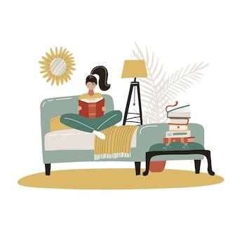 침대에서 젊은여자가 읽는 책. 스칸디나비아 침실. 아늑한 현대적인 홈 인테리어. 평면 그림