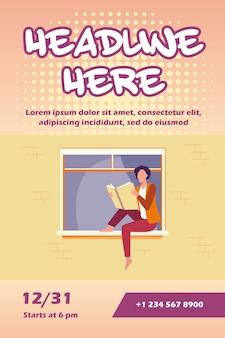 Молодая женщина, читающая книгу на подоконнике флаер шаблон