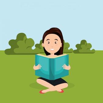 필드 문자 장면에서 읽는 젊은 여자