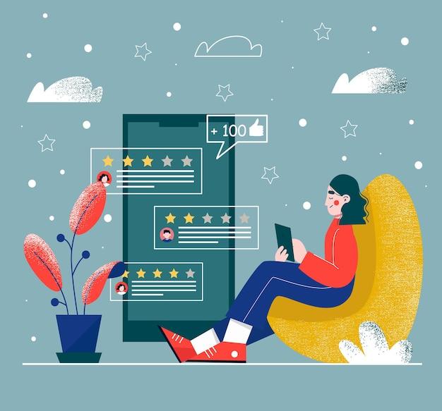 리뷰를 읽는 젊은 여자. 피드백 또는 평가 개념.