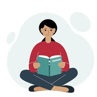 젊은 여자는 다리를 건너 책을 읽습니다. 레저 및 교육 개념입니다. 책 축제, 박람회, 독서의 개념. 벡터 일러스트 레이 션