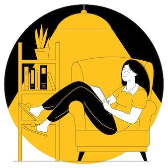 若い女性は居心地の良い家でソファで本を読みます。ソファに座って本を読んで休んでいる女の子。現代のガジェットで読書と教育のフラットなデザインベクトルの概念。
