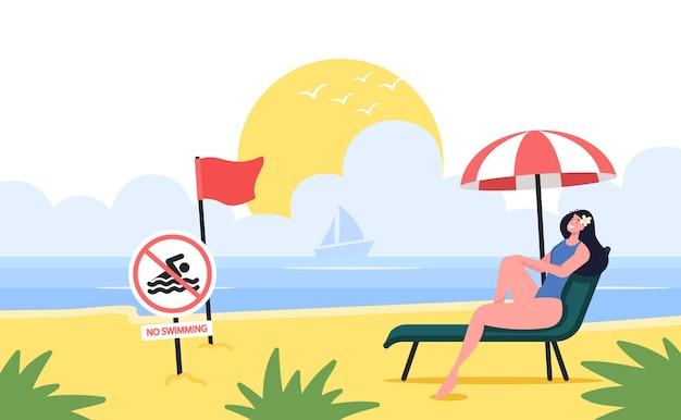 젊은 여성은 빨간색 경고 깃발과 수영 금지 표지판이 있는 샌디 비치의 긴 의자 라운지에서 휴식을 취합니다. 바다 배경 및 세일링 요트에 여성 캐릭터 태닝. 만화 벡터 일러스트 레이 션