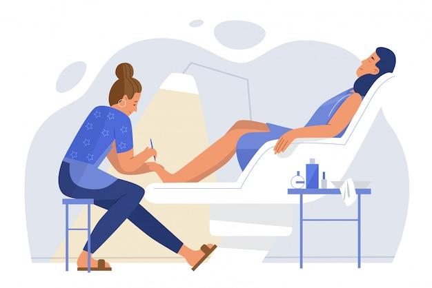 Young woman relaxing in armchair pedicure room flat character  illustration concept