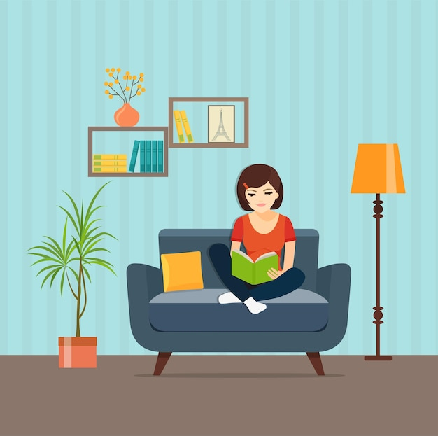 Young woman relaxing on chair reading book at home vector flat style illustration