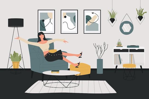 リラックスした若い女性、家のアパートのインテリアの肘掛け椅子に座っている幸せな女の子のキャラクター