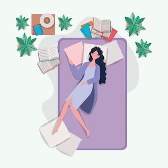 침실에서 매트리스에서 편안한 젊은 여자