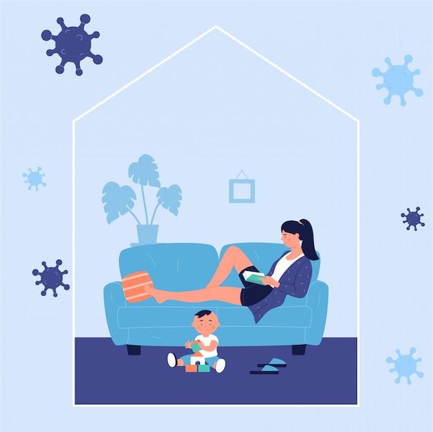 コロナウイルスcovid-19時間中に自宅で子供を再生しながらソファーで横になっている本を読んでいる若い女性。コロナウイルス病を予防するために家にいる、自己隔離の概念を隔離する