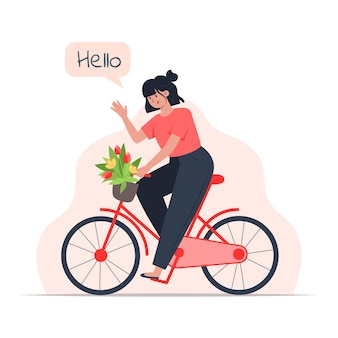 A young woman rides a bicycle with a bouquet of flowers in a basket