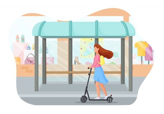 Young woman rides on electric scooter through the city. ecology transport concept.  illustration.