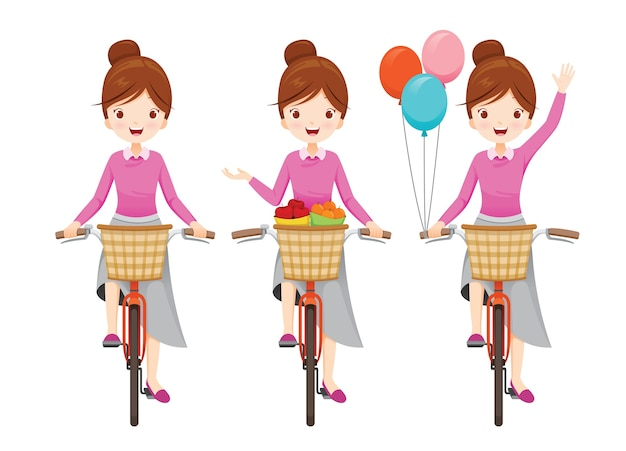 Young woman riding bicycle with front basket in different actions