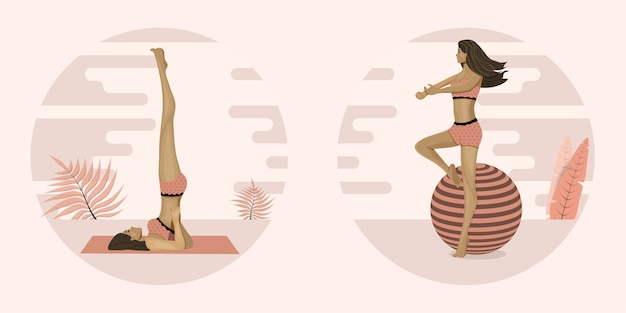 若い女性はヨガやピラティス、練習をしています。図。