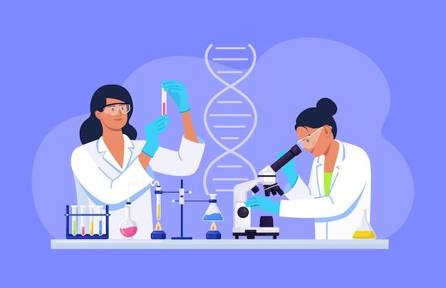 화학 연구, 미생물 분석, 테스트를 하는 실험실에서 현미경을 들여다보는 젊은 여성 과학자. 백신 실험을 수행하는 생화학 과학 실험실 직원