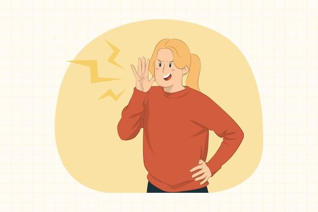 Молодая женщина кричит с жестом руки возле концепции рта