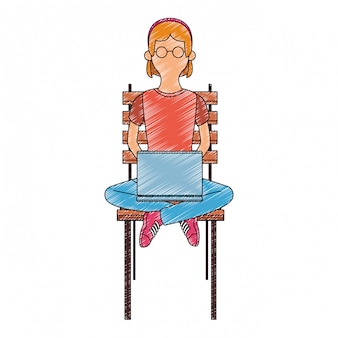 Young woman seated on chair using laptop scribble faceless