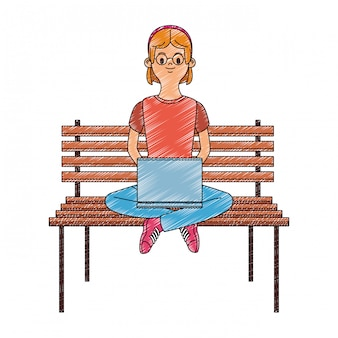 Young woman seated on chair using laptop scribble