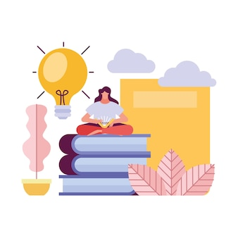 책 창조적 인 캐릭터 일러스트 디자인에 앉아 젊은 여자