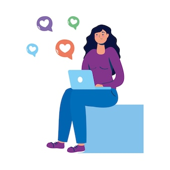Young woman seated using laptop with social media icons.