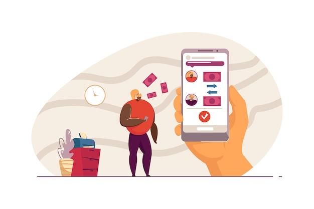 Молодая женщина отправляет деньги старику через приложение для телефона. женский персонаж передает деньги деду плоской векторной иллюстрации. денежная транзакция, концепция приложения для баннера, дизайн веб-сайта