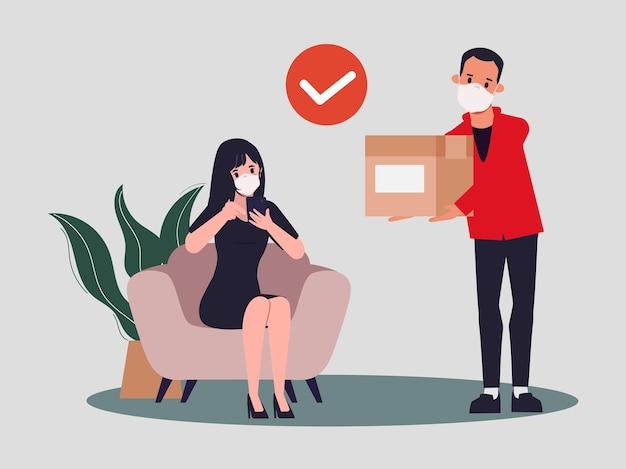 Молодая женщина, делающая покупки в интернете и служба доставки во время вспышки вируса covid19