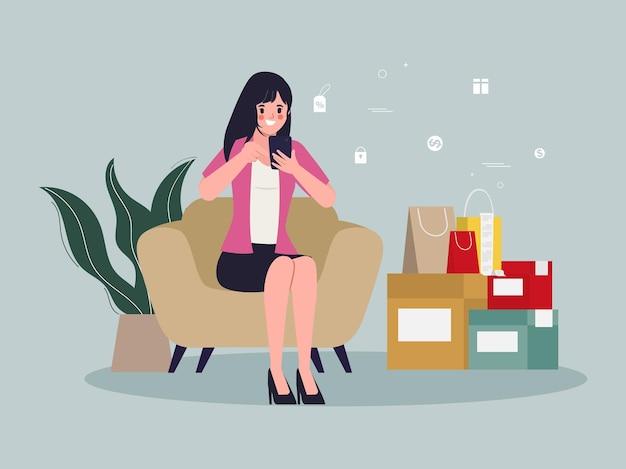 Молодая женщина, делающая покупки в интернете и служба доставки