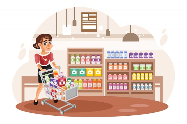 Young woman shopping at supermarket vector illustration