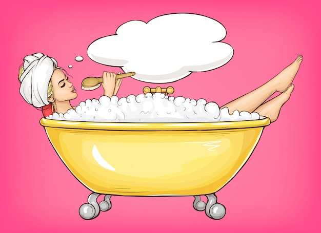 Young woman singing in yellow bathtub cartoon illustration